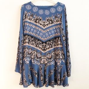 Free People Boho Long Sleeve Tunic Top/Dress, Med